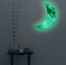 Glow in the dark halve maan 50 cm hoog muursticker babykamer