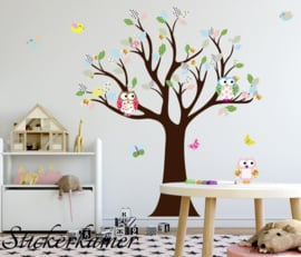 Vrolijk gekleurde muursticker boom met uilen en vogels