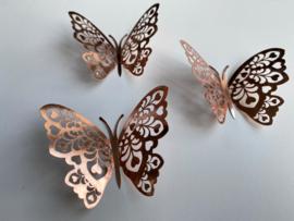 12 stuks rose gouden 3d vlinders muurdecoratie (9)