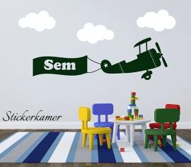 Sticker mural avion with nom et nuages