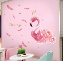 Muursticker flamingo roze kinderkamer