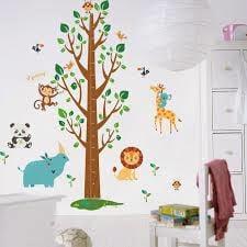 Muursticker boom groeimeter met beesten kinderkamer