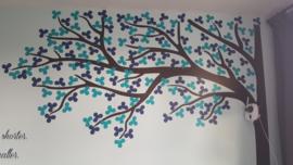 Muursticker boom kinderkamer (kies je eigen kleuren) 003 blaadjes