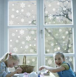 Raamsticker 52 witte sneeuwvlokken statisch hechtend