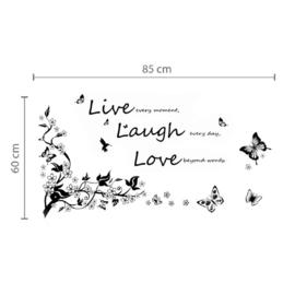 Muursticker quote Live love laugh + tak en vlinders