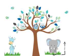 Muursticker cuddle tree met safari dieren (ocean green  thema)