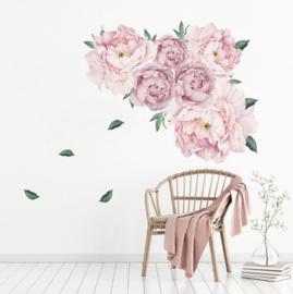 Muursticker pioenroos bloemen roze babykamer