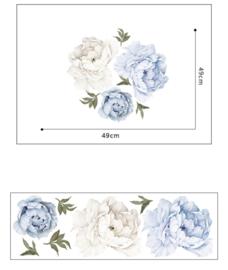 Muursticker pioen rozen / bloemen blauw - wit