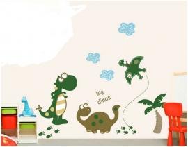 Muursticker dinosaurus met palmboom kinderkamer