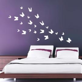 Muursticker losse 3d vlinders 24  stuks (wit)