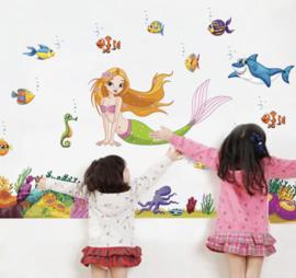 Muursticker zeemeermin met zeedieren meisjeskamer