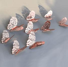 12 stuks rose / gouden 3d vlinders muurdecoratie