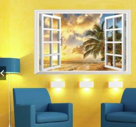 Muursticker strand palmboom uitzicht