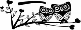 Muursticker 2 uilen zitten op een tak
