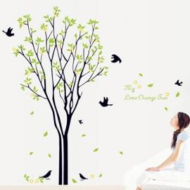 Muursticker boom groene blaadjes en vogels