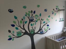 Wall Sticker arbre câlins avec les hiboux et les oiseaux