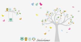 Muursticker boom + tak kleurrijk