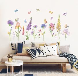 Muursticker bloemen libellen vlinders