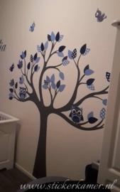 Muursticker boom met uilen en vogels (blauw)