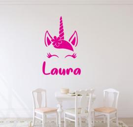 Unicorn muursticker naam babykamer meisjes
