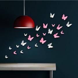 Muursticker 3d vlinders mix wit en roze (24 stuks)