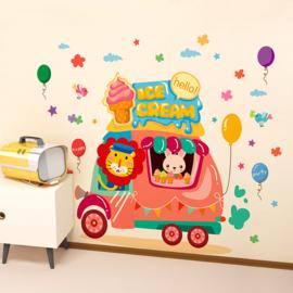 Muursticker ijsco auto met dieren babykamer