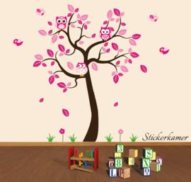 Muursticker boom roze XL uilen kinderkamer