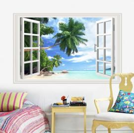 Muursticker raam uitzicht strand - palboom - zee - natuur