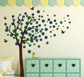 Muursticker bloesemboom XL Donker blauw - Donker groen