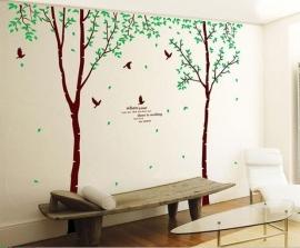 Muursticker bomen met groene blaadjes XXL kinderkamer