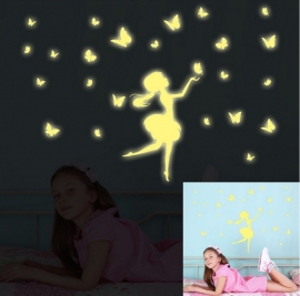 Glow in the dark prinses met vlinders