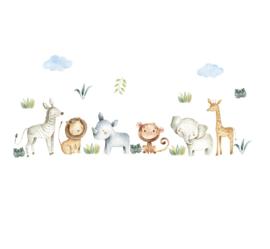 Muursticker jungle dieren / beesten kinderkamer