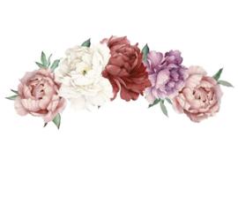 Muursticker pioenroos bloemen decoratie