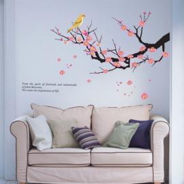 Prachtige muursticker  bloesem tak met vogel