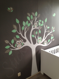 Muursticker boom mint/grijs met  uilen en vogels