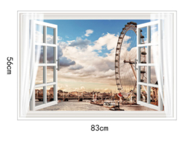 Muursticker raam met uitzicht op het kanaal reuzenrad  muurdecoratie
