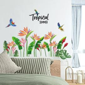 Muursticker tropische planten palmbladen en vogels
