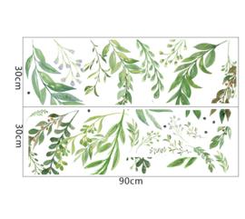 Muursticker decoratieve groene siertakken strook stickers
