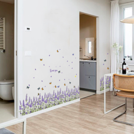 Muursticker lavendel bloemen strook - plint paars