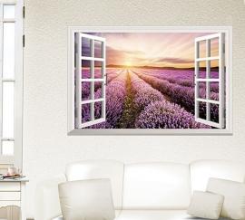 Muursticker raam met uitzicht op lavendel veld