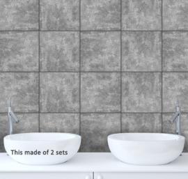 Tegel stickers grey stone  20x20 cm