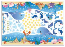 Muursticker zeebeesten mix kinderkamer