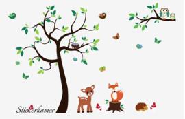 Muursticker boom met dieren / beesten met stamverlening Wunderink