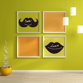 Muursticker snor en lippen krijtbord blackboard sticker