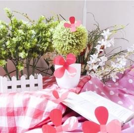 Muursticker losse 3d bloemen (rood)