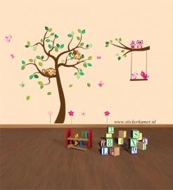 Sticker mural arbre avec la branche et les animaux XL (la chambre des filles)