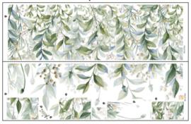 Muursticker groene botanisch look strook stickers