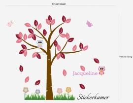 Meisjeskamer boom met uil en vogel (Roze) XL