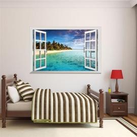 Muursticker strand tropisch eiland