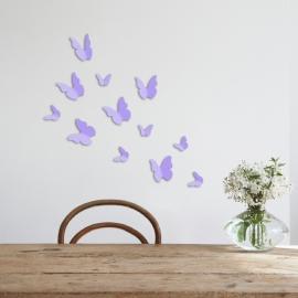 Muursticker losse 3d vlinders (lavendel lila / paars)